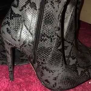 fa3142d5c75 kloset Envy Shoes - GREY SNAKESKIN THIGH HIGH BOOTS